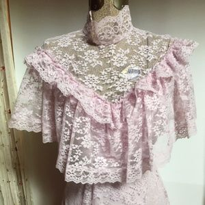 1980 Lavender Lace/Polyester Formal Costume Dress